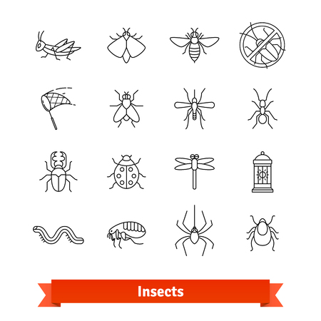 extermination: Insects and pest extermination thin line icons set Illustration