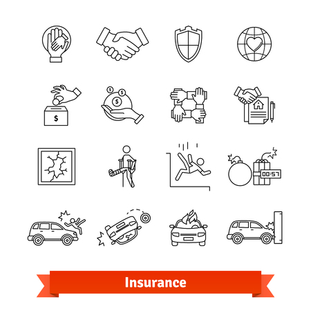 Accidents and Insurance. Thin line art icons set