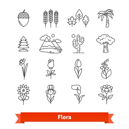 Flora thin line art icons set. Plants life Stok Fotoğraf - 76582253