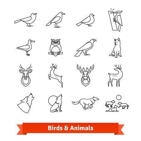 Wild animals and birds thin line art icons set