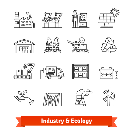 icon: Industry and Ecology thin line art icons set Illustration