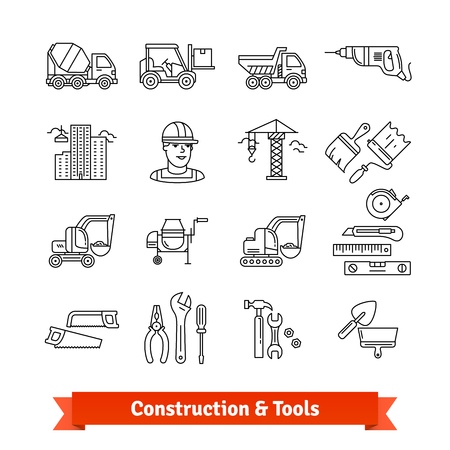 excavate: Building site engineering and tools set Illustration