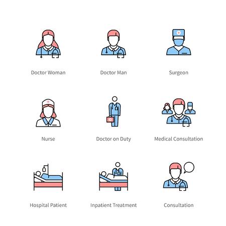 医療従事者と病院治療アイコン