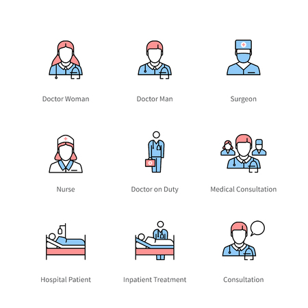 Health professionals and hospital treatment icons