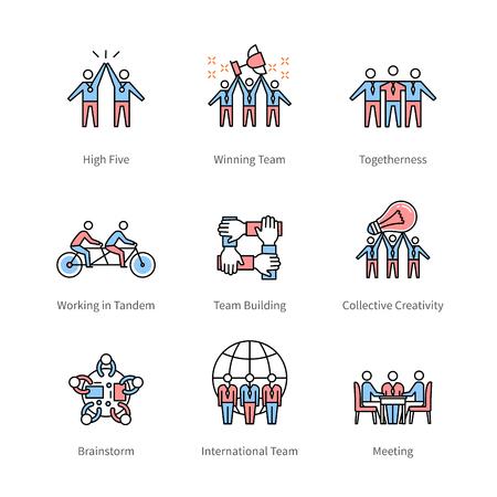 Team work, management, business concept symbols