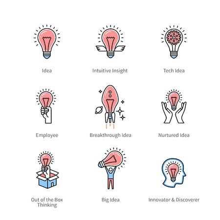 brain illustration: Creative idea and business innovation symbols