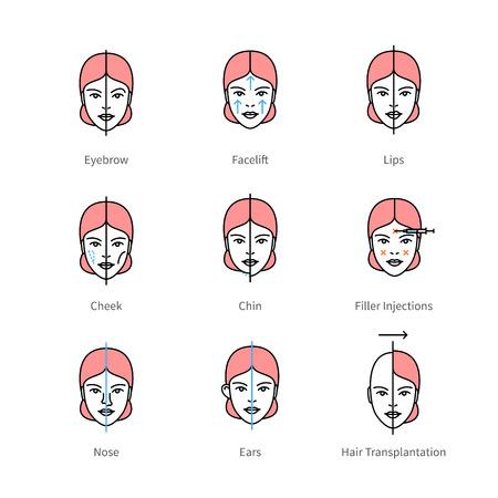 augmentation: Face plastic surgery, aesthetic medicine symbols