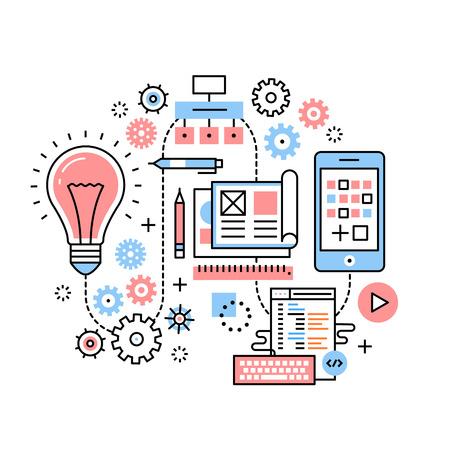 携帯アプリ開発プロセスの概念  イラスト・ベクター素材