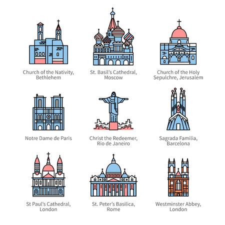 Famous Christian churches and cathedrals icons Illustration