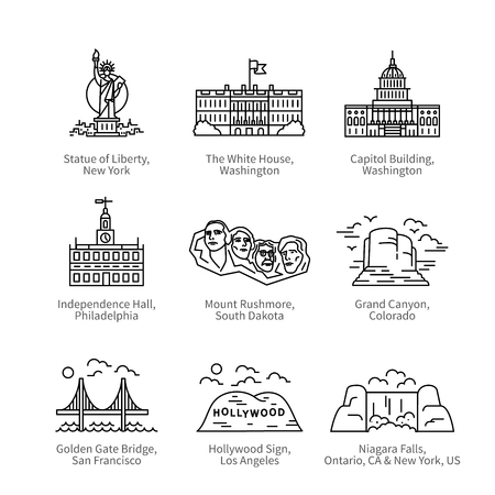 jorney: City travel landmarks of United States of America Illustration