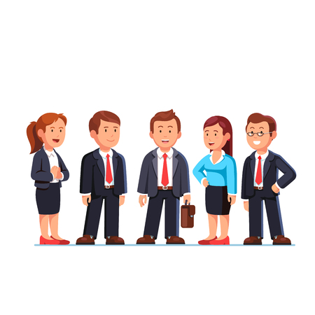 Group of five business people standing in suits