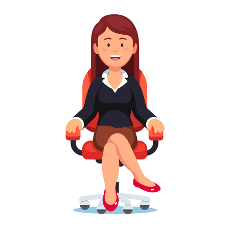 Business woman confidently sitting in office chair