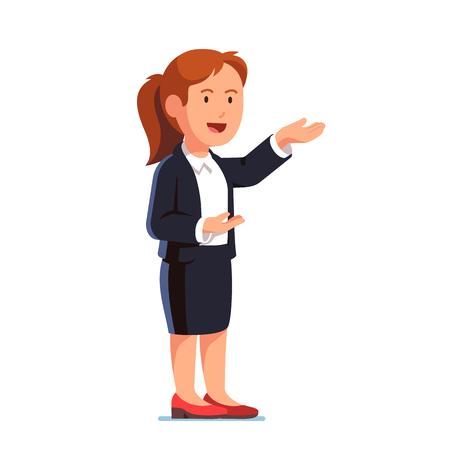 Mujer de negocios que muestra gesto con ambas manos