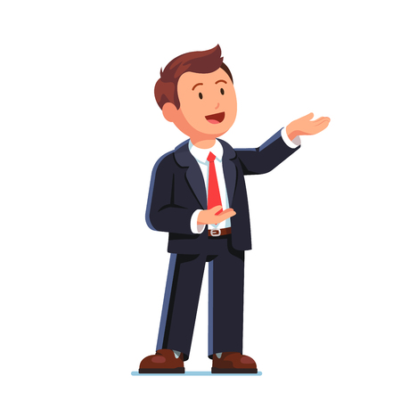 Business man presenting gesture with both hands Çizim