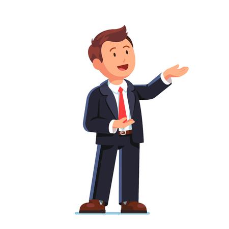 Hombre de negocios que presenta el gesto con ambas manos