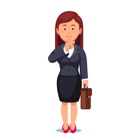 Business woman making silence - be quiet gesture