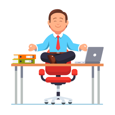 Business man sitting on office desk in yoga pose