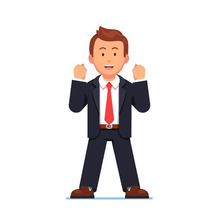 Hombre de negocios, expresar, sí, gesto, dos, manos Ilustración de vector