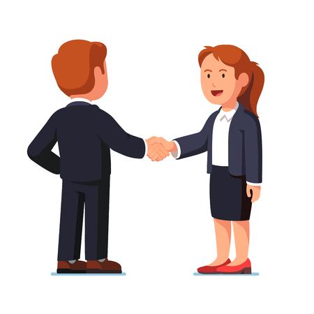 Bedrijfsman en vrouw die handen stevig schudden