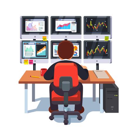 Stock market exchange trader working at desk