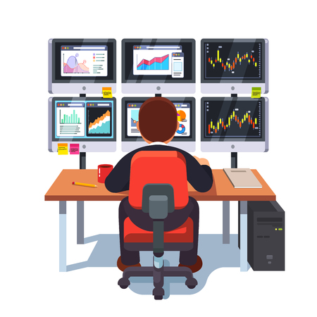 Stock market exchange trader working at desk