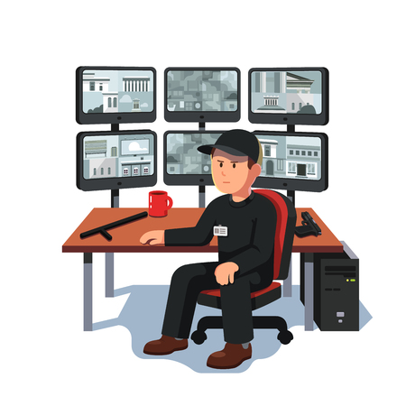 Watchman sitting at security room monitoring video