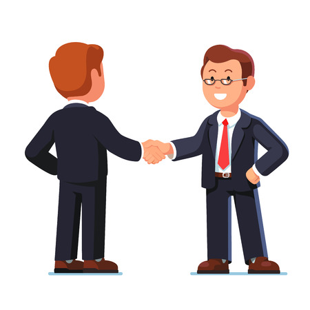 Two standing business man shaking hands firmly Vetores