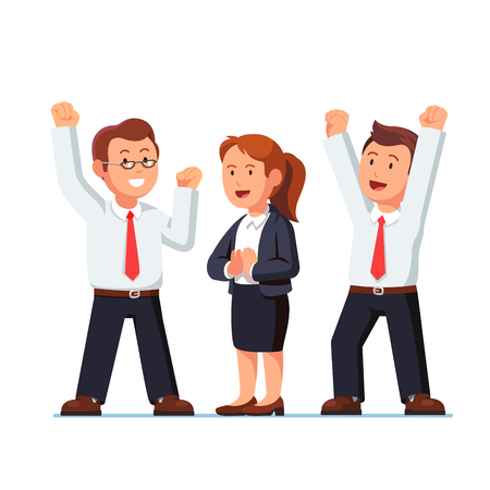 Business man and woman raising hands up over heads