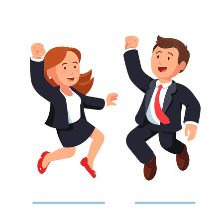 Smiling business man and woman jumping together