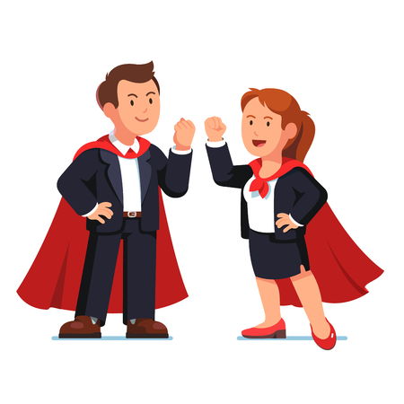 cloak: Superhero business man and woman in red capes