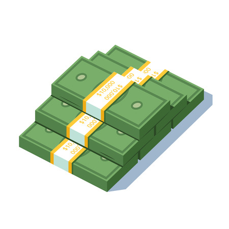 strapped: Stacked pile of dollar strapped bundles cash money Illustration