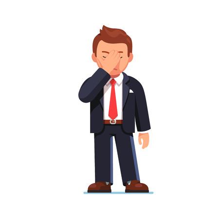 Uomo d'affari che copre gli occhi mostrando il gesto di faccia a faccia Vettoriali