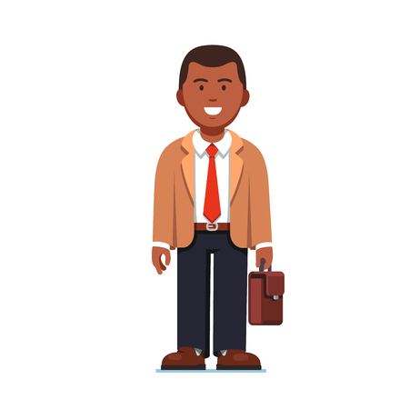 Afro American business man standing with suitcase Illustration