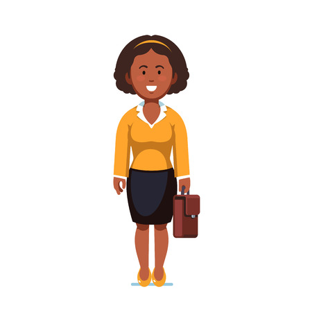 Afro american business woman standing with case