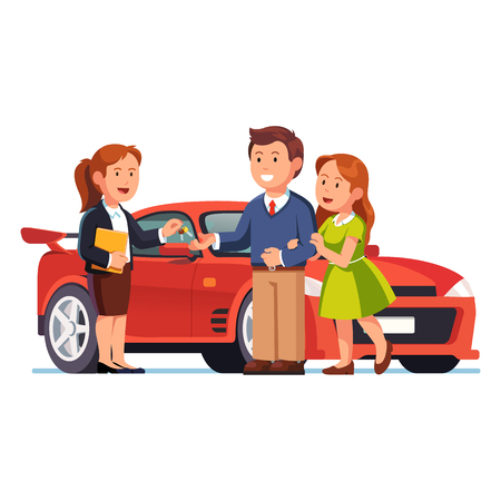 Young couple buying or renting new red car Illustration