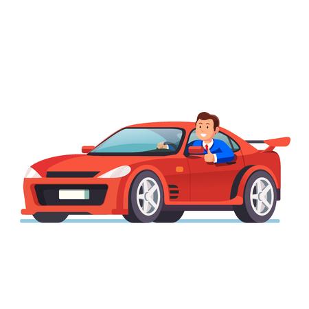 Glimlachende rijke zakenman die zijn rode auto rijdt