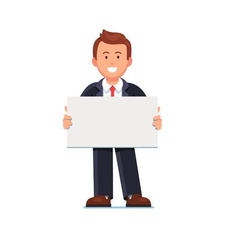 Empresario sosteniendo el cartel blanco espacio en blanco