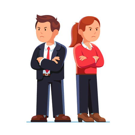 Man and woman standing back to back after argument