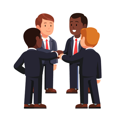 Multiracial business team joining hands together Vector Illustration