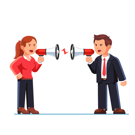 conflicting: Business man and woman shouting at each other