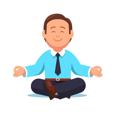 Business man sitting in the padmasana lotus pose