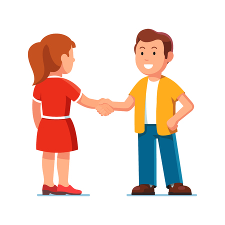 Man and woman standing together and shaking hands Ilustração