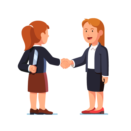 Business women shaking hands, one holding knife Illustration