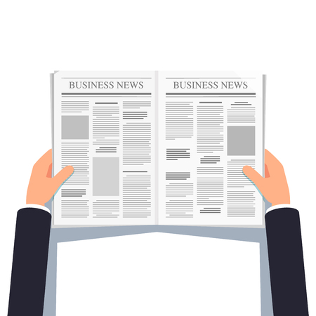 hand holding paper: Opened newspaper in businessman hands Illustration