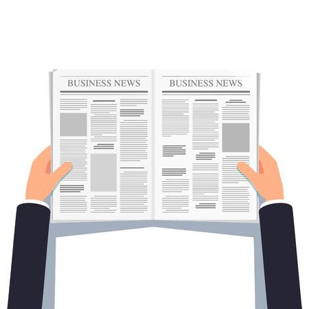 gazette: Opened newspaper in businessman hands Illustration
