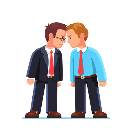 Business men enemies standing head to head arguing Иллюстрация