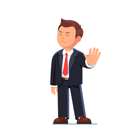 Business man boss rejecting with stop hand gesture