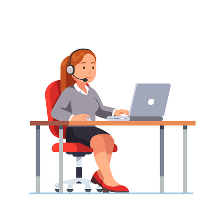 Operator of call center office working at her desk