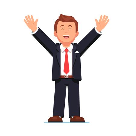 Business man raising hands up celebrating success Vettoriali