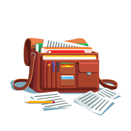 organised: Opened bag or briefcase full of documents